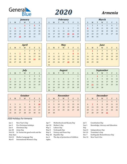 Armenia Calendar 2020