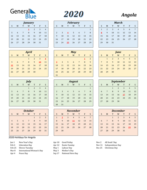 Image of Angola 2020 Calendar with Color with Holidays