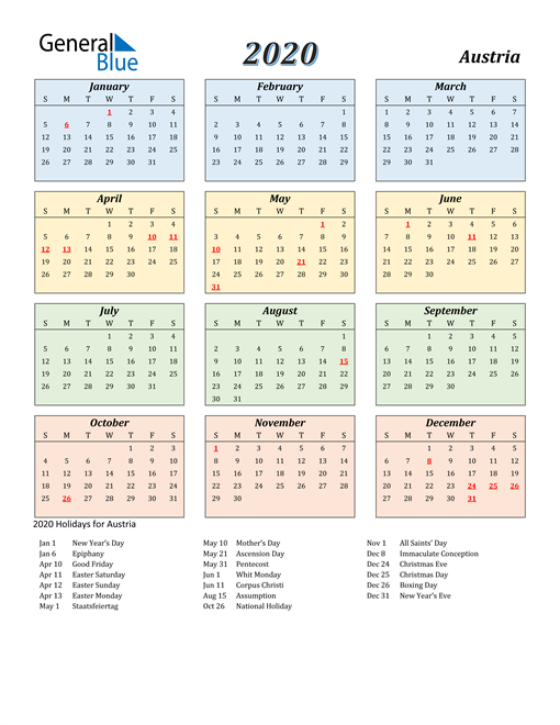 Image of Austria 2020 Calendar with Color with Holidays