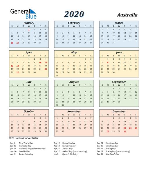 Australia Calendar 2020