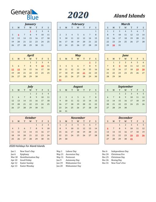 Aland Islands Calendar 2020