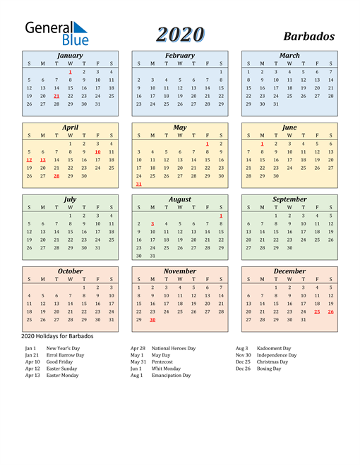 Image of Barbados 2020 Calendar with Color with Holidays