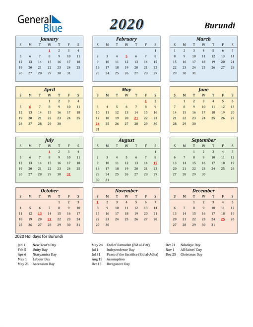 Image of Burundi 2020 Calendar with Color with Holidays