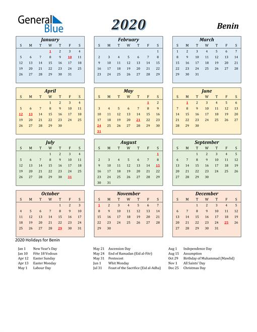 Benin Calendar 2020