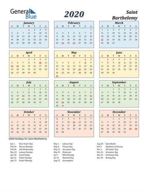 Saint Barthelemy Calendar 2020