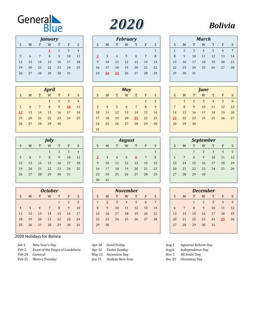 Bolivia Calendar 2020
