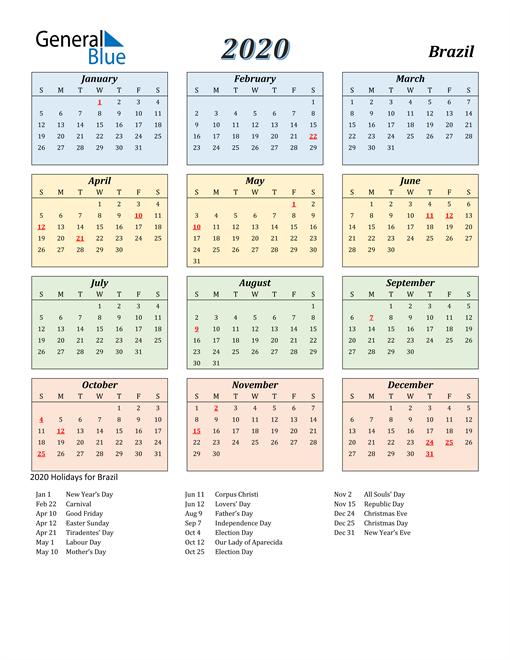 2020 Calendar Brazil With Holidays