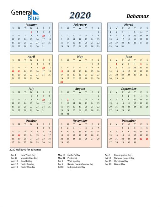 Bahamas Calendar 2020