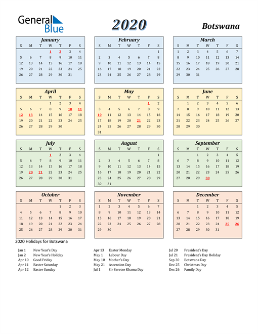 Image of Botswana 2020 Calendar with Color with Holidays