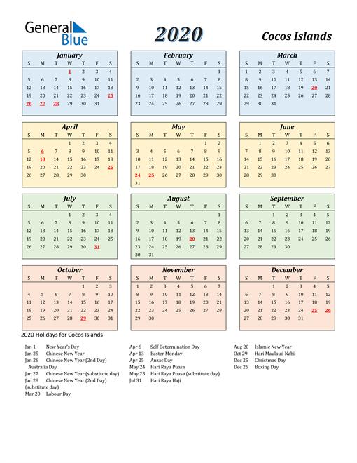 Cocos Islands Calendar 2020