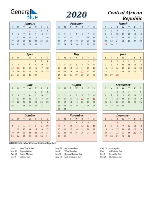 Central African Republic Calendar 2020