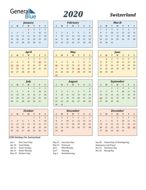 Image of Switzerland 2020 Calendar with Color with Holidays