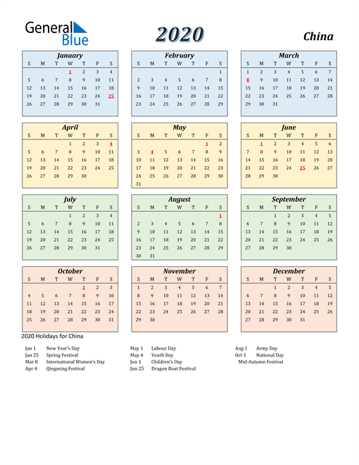 Image of China 2020 Calendar with Color with Holidays