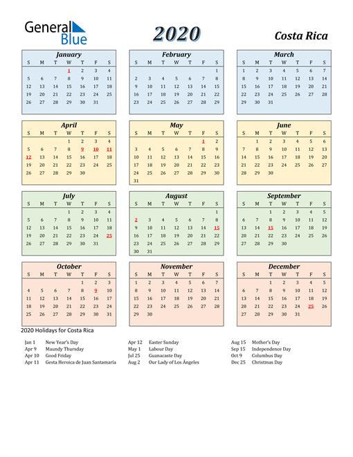 Costa Rica Calendar 2020