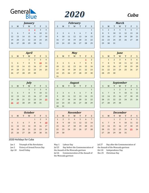 Cuba Calendar 2020