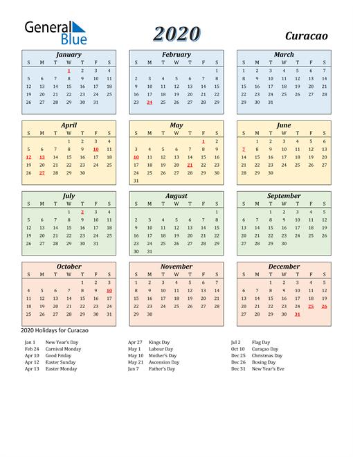 Curacao Calendar 2020