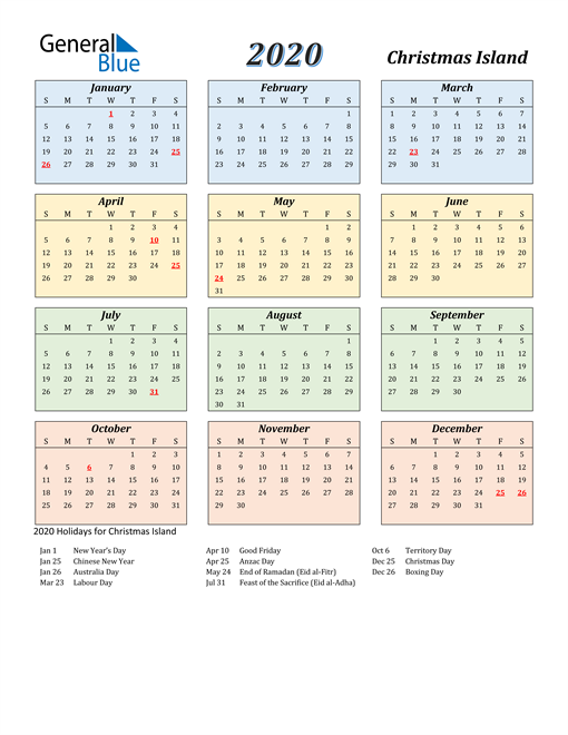 Image of Christmas Island 2020 Calendar with Color with Holidays