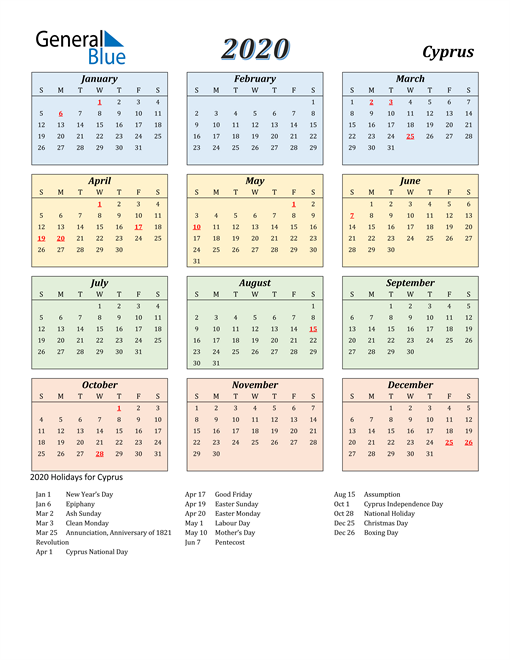 Image of Cyprus 2020 Calendar with Color with Holidays