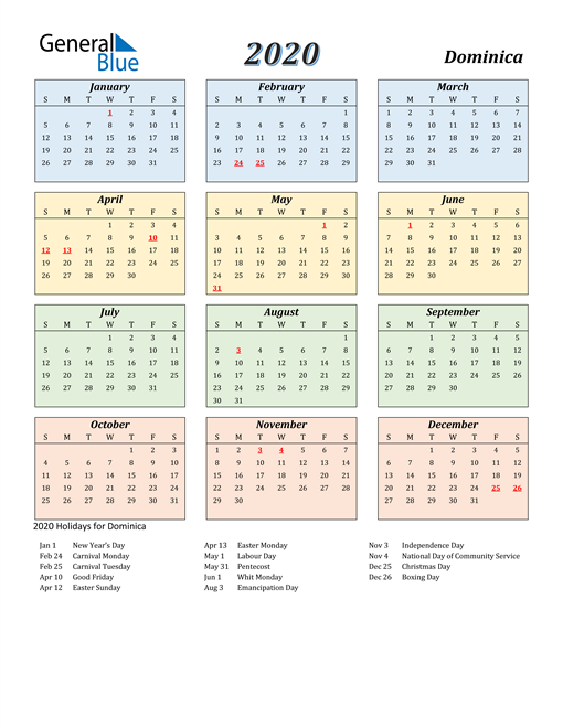 Image of Dominica 2020 Calendar with Color with Holidays