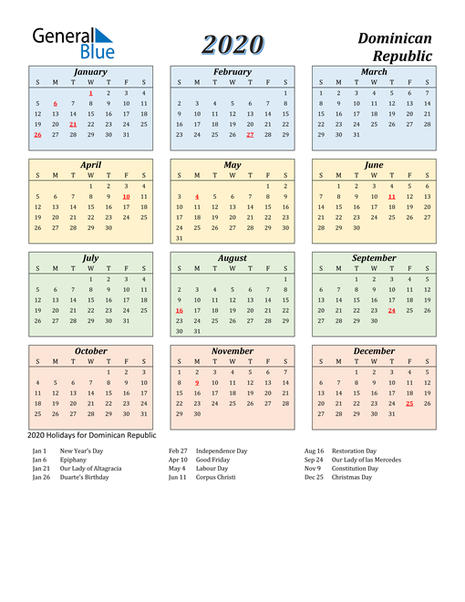 Dominican Republic Calendar 2020
