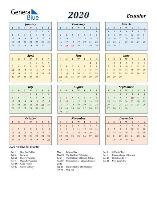 Image of Ecuador 2020 Calendar with Color with Holidays
