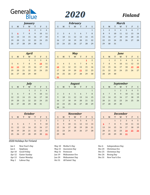 Image of Finland 2020 Calendar with Color with Holidays