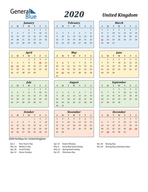 United Kingdom Calendar 2020