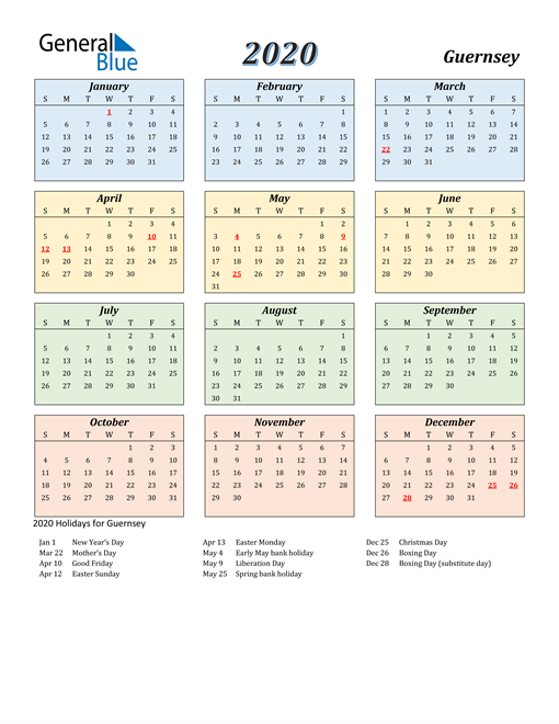 Image of Guernsey 2020 Calendar with Color with Holidays