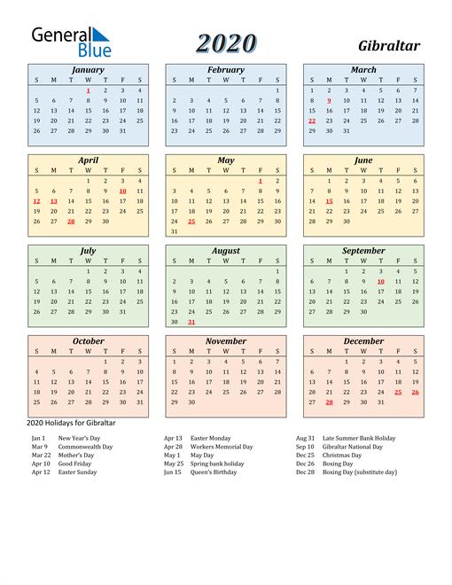Gibraltar Calendar 2020