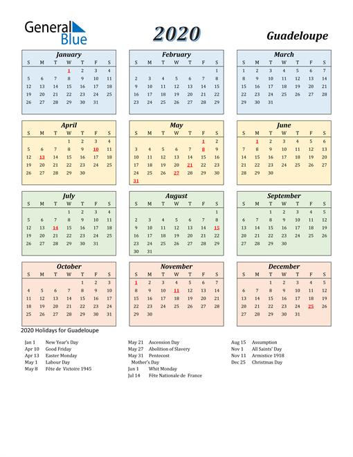Guadeloupe Calendar 2020