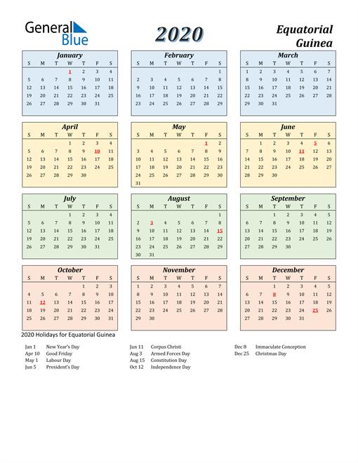 Equatorial Guinea Calendar 2020