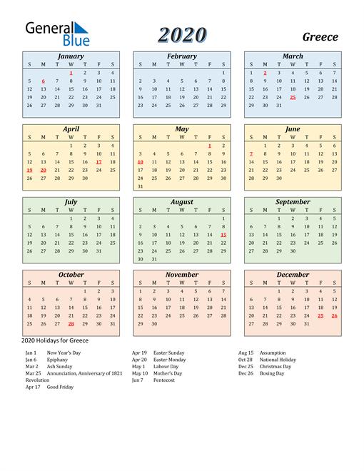 Greece Calendar 2020