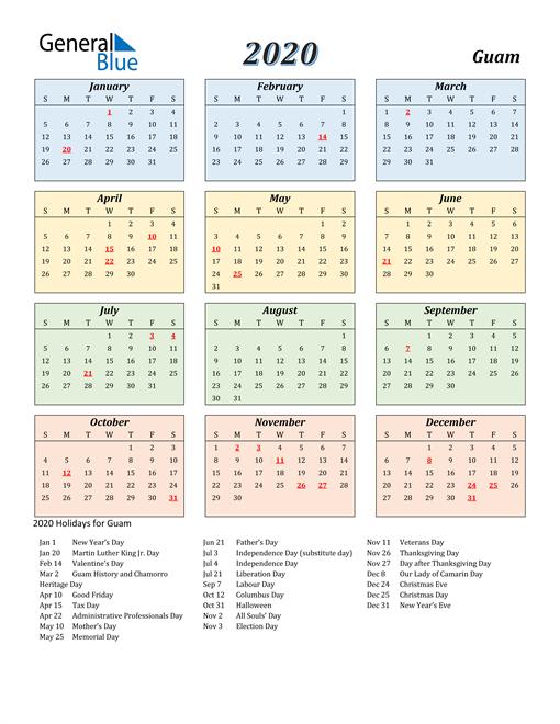 Guam Calendar 2020