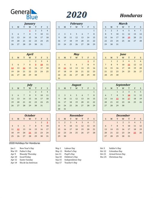 Honduras Calendar 2020