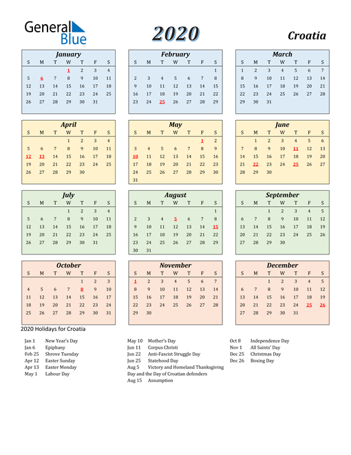 Image of Croatia 2020 Calendar with Color with Holidays