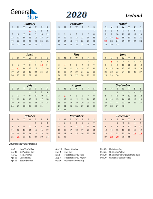 Image of Ireland 2020 Calendar with Color with Holidays