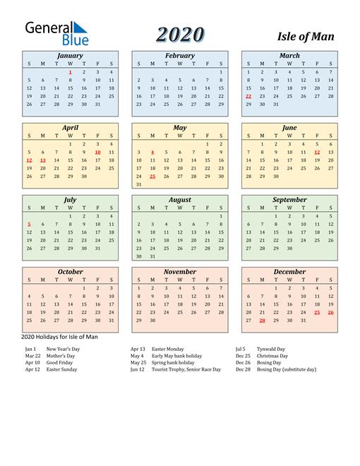 Isle of Man Calendar 2020