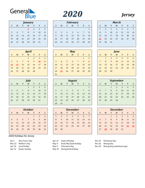 Image of Jersey 2020 Calendar with Color with Holidays