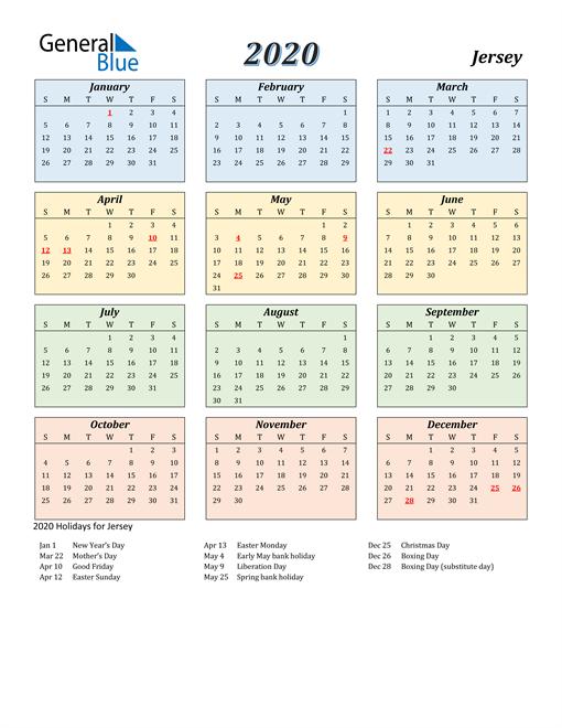 Jersey Calendar 2020