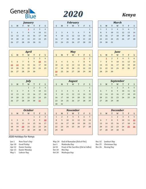 Kenya Calendar 2020
