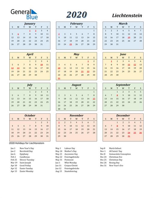 Liechtenstein Calendar 2020