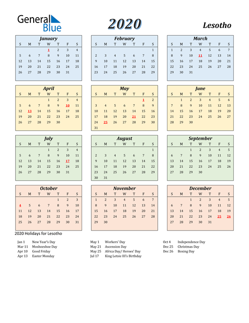 Image of Lesotho 2020 Calendar with Color with Holidays