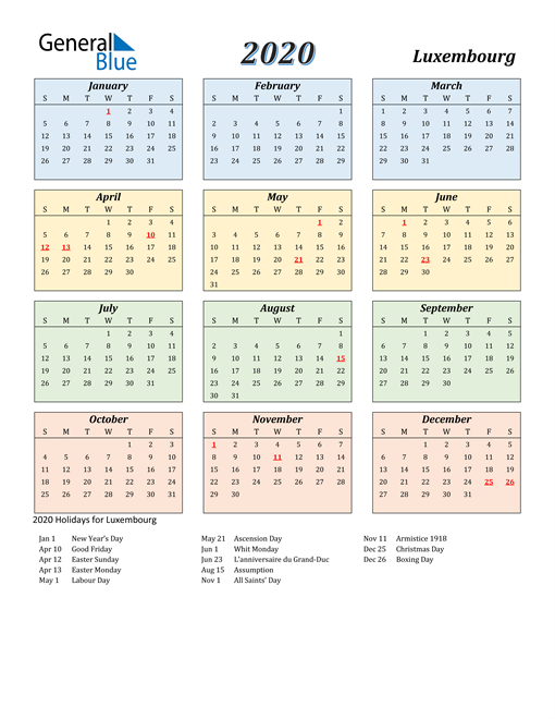 Image of Luxembourg 2020 Calendar with Color with Holidays