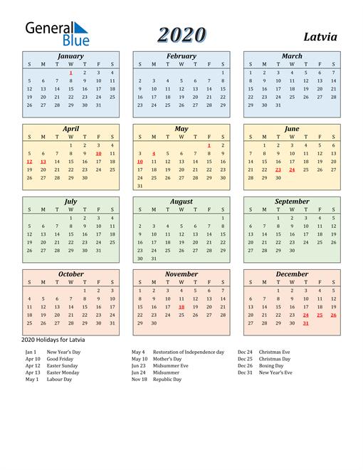 Latvia Calendar 2020