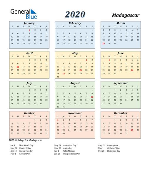 Madagascar Calendar 2020