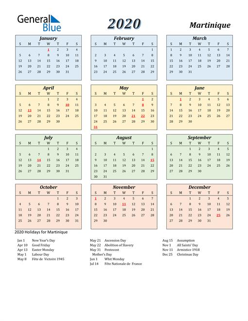 Martinique Calendar 2020