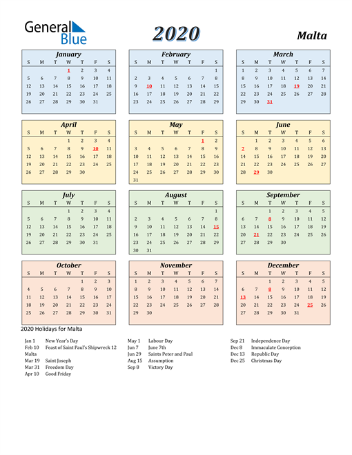 Image of Malta 2020 Calendar with Color with Holidays