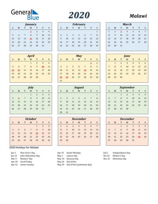 Image of Malawi 2020 Calendar with Color with Holidays