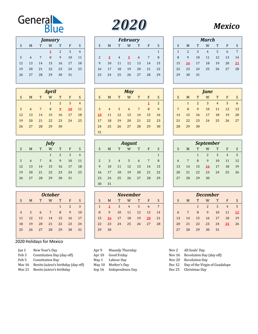 Image of Mexico 2020 Calendar with Color with Holidays