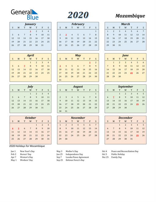 Image of Mozambique 2020 Calendar with Color with Holidays